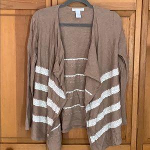 Lace Striped Lightweight Cardigan